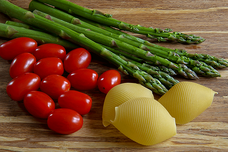 asparagus, grape tomatoes and jumbo shells pasta
