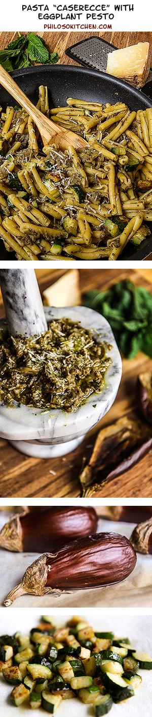 pasta caserecce with eggplant pesto