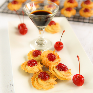 Traditional almond biscuits with Maraschino cherries