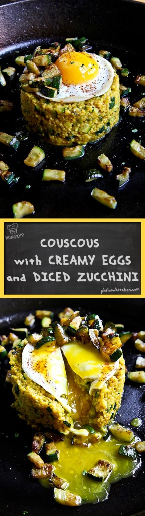 "COUSCOUS ""ALLA CARBONARA"" WITH DICED ZUCCHINI AND FRIED EGGS"