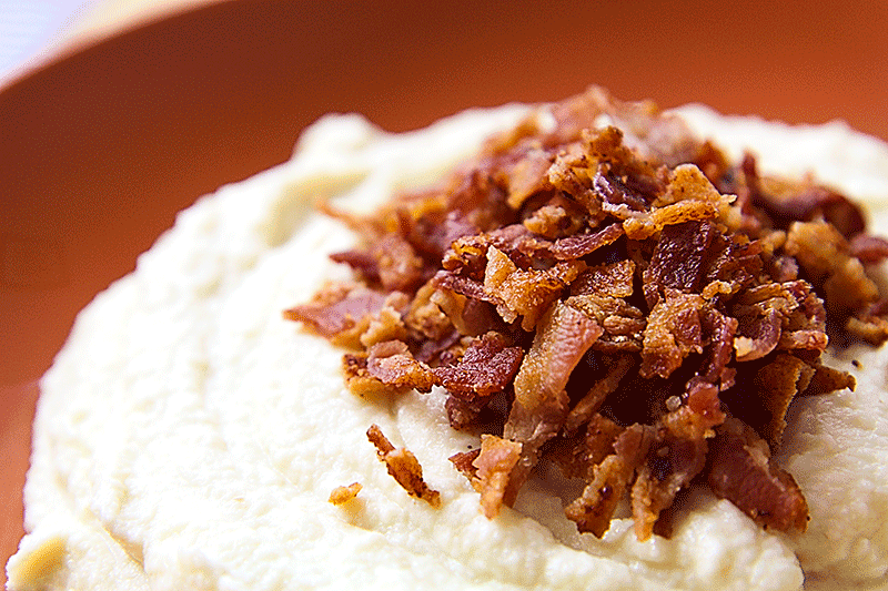 crispy bacon and cauliflower