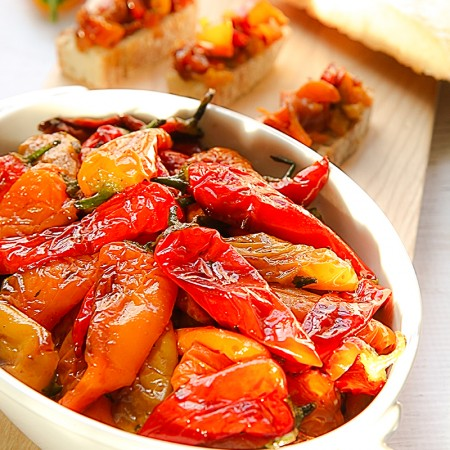 Pan fried mini bell peppers, marinated with garlic and basil