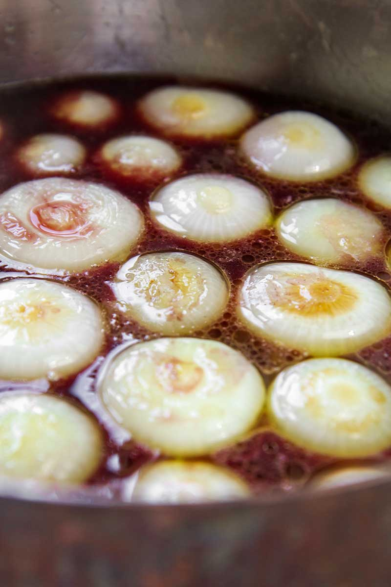 CIPOLLINI ONIONS braised in red wine