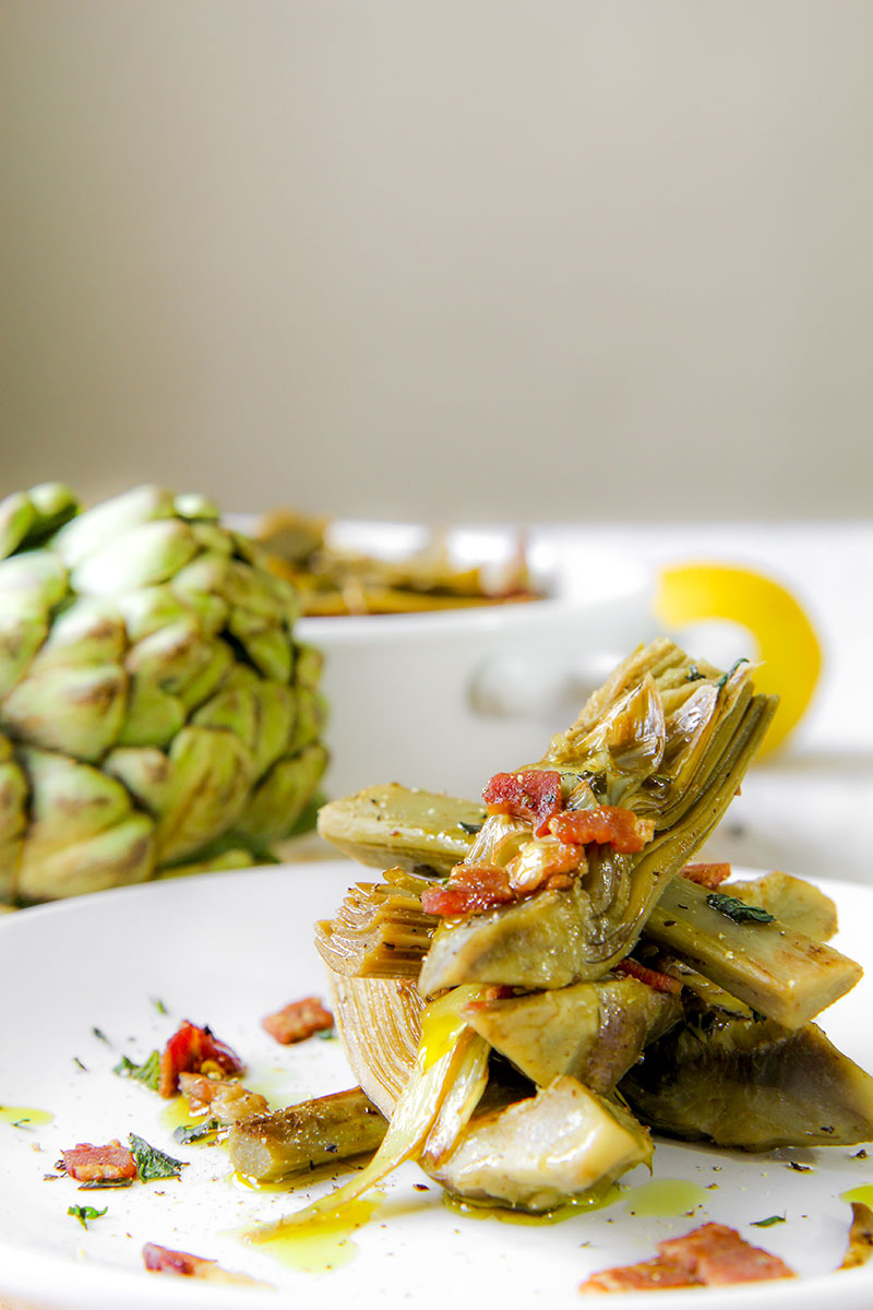 SAUTEED ARTICHOKES with bacon and garlic