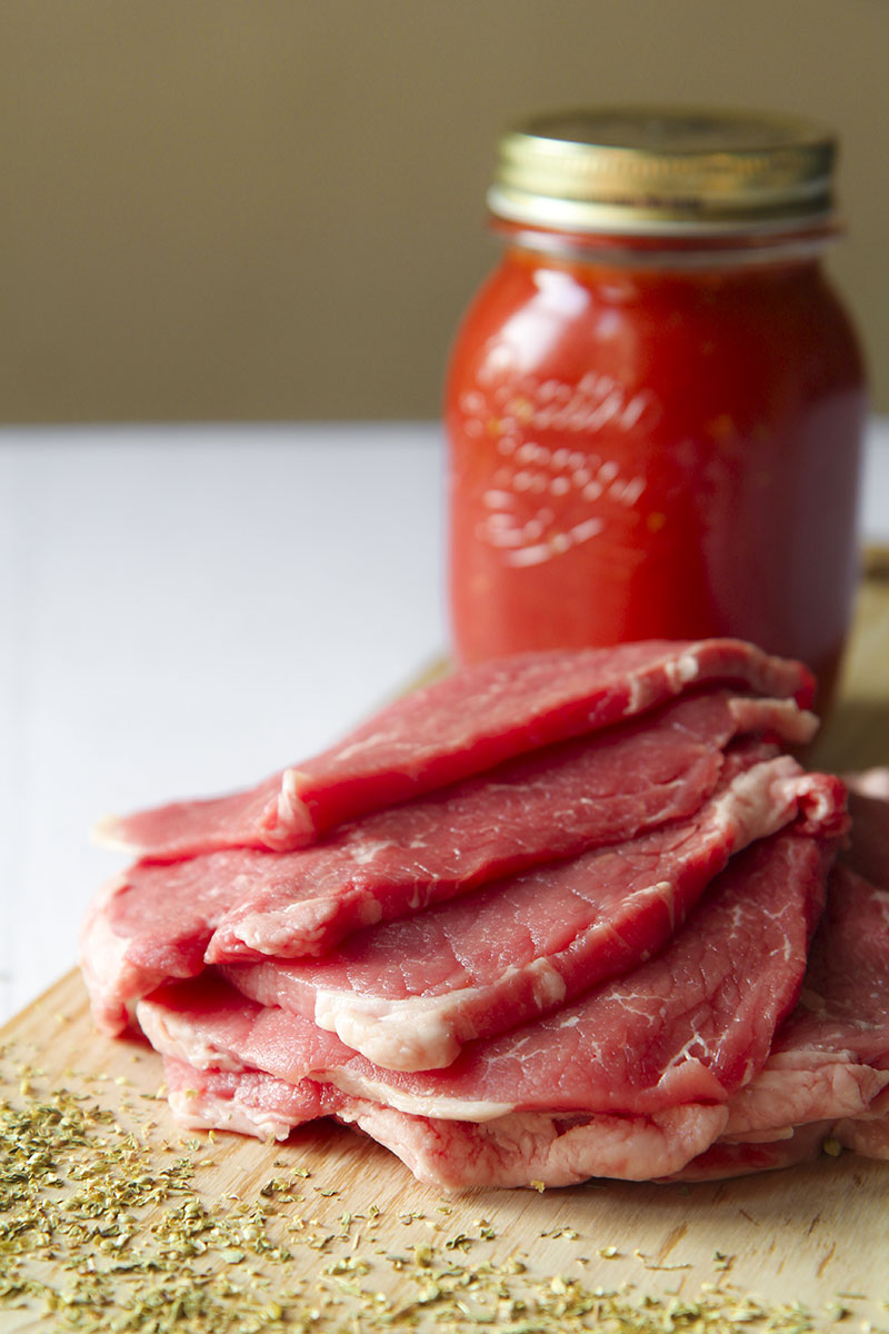 SLOW COOKED EYE OF ROUND STEAKS with pizzaiola sauce