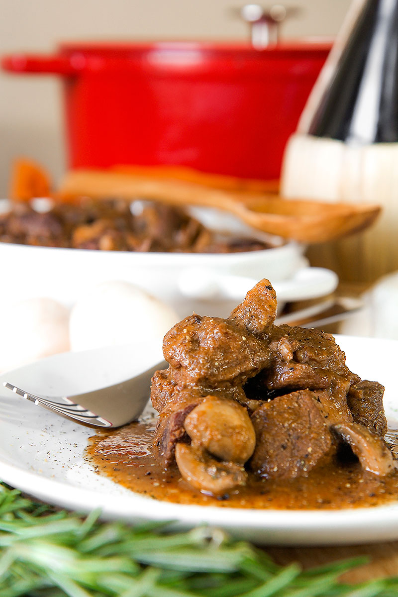 BRAISED WILD BOAR STEW with mushroom and red wine