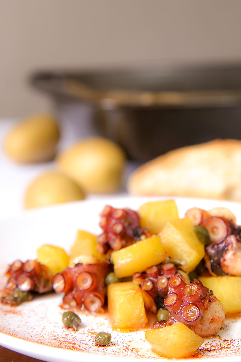 OVEN ROASTED OCTOPUS with potatoes and oregano