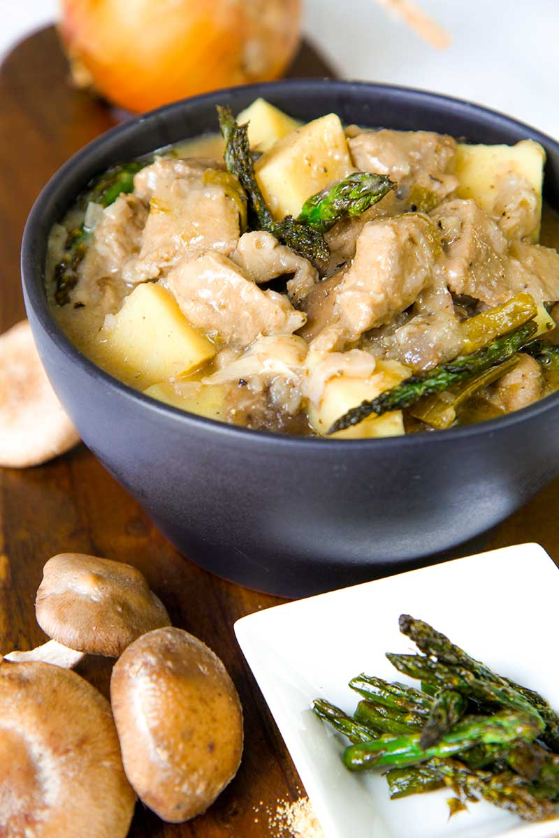 VEAL STEW with asparagus, mushrooms and potatoes