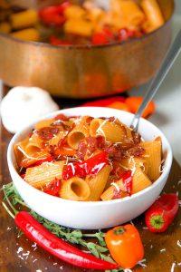Pasta with capocollo and mini sweet pepper