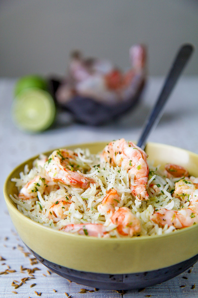 SHRIMP RICE SALAD with lime and cumin