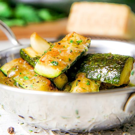 ITALIAN PAN FRIED ZUCCHINI with cheese and garlic