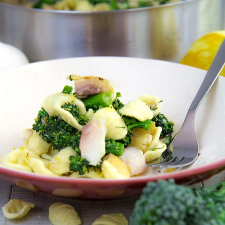 BROCCOLI RABE PASTA RECIPE with red snapper