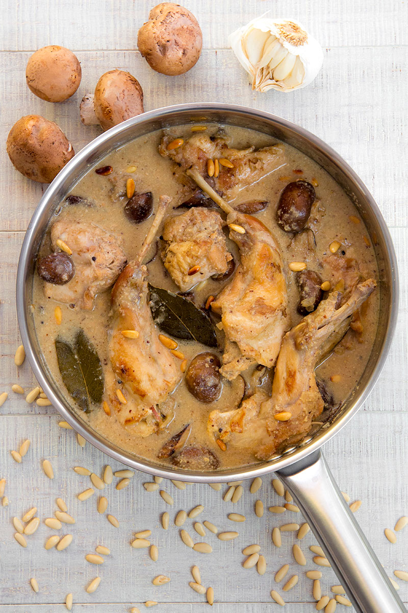 RABBIT STEW braised in white wine with mushrooms and mustard seeds