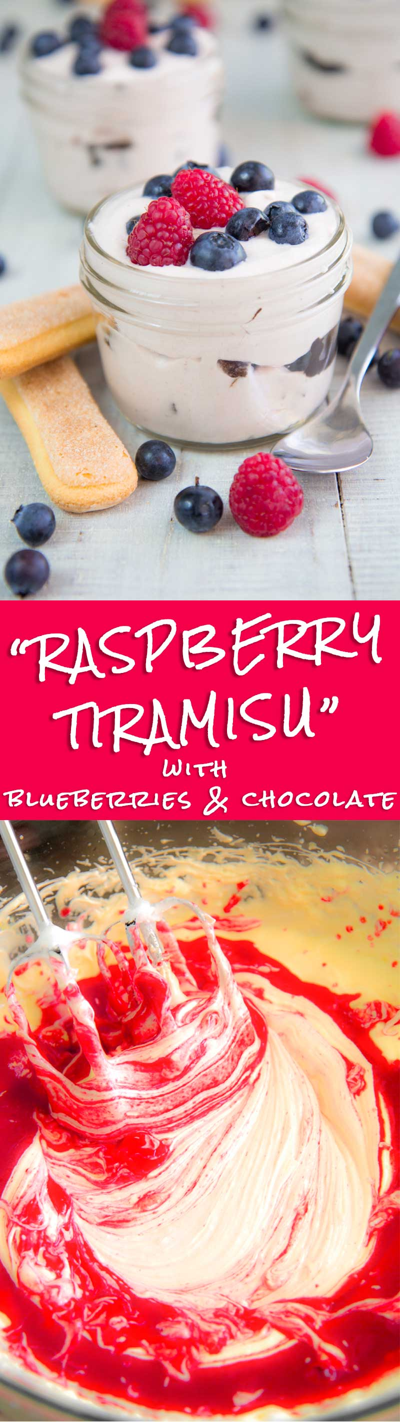 RASPBERRY TIRAMISU with blueberries and chocolate chunks