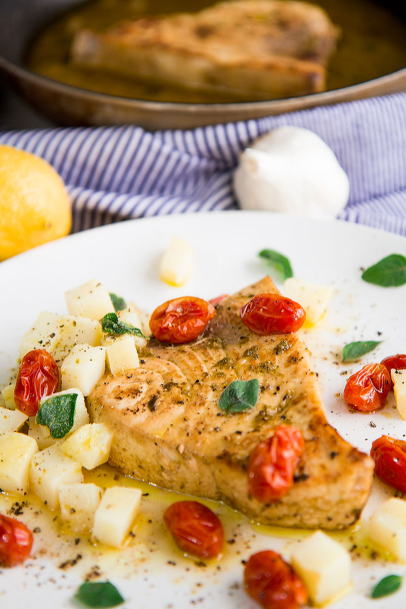 PAN-SEARED SWORDFISH with Italian Salmoriglio marinate