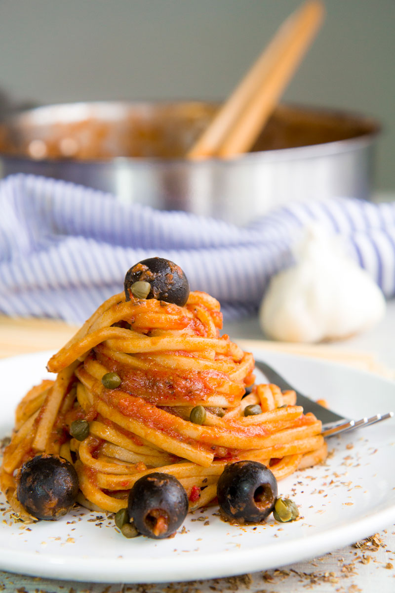 PASTA PUTTANESCA SAUCE with garlic, black olives and capers