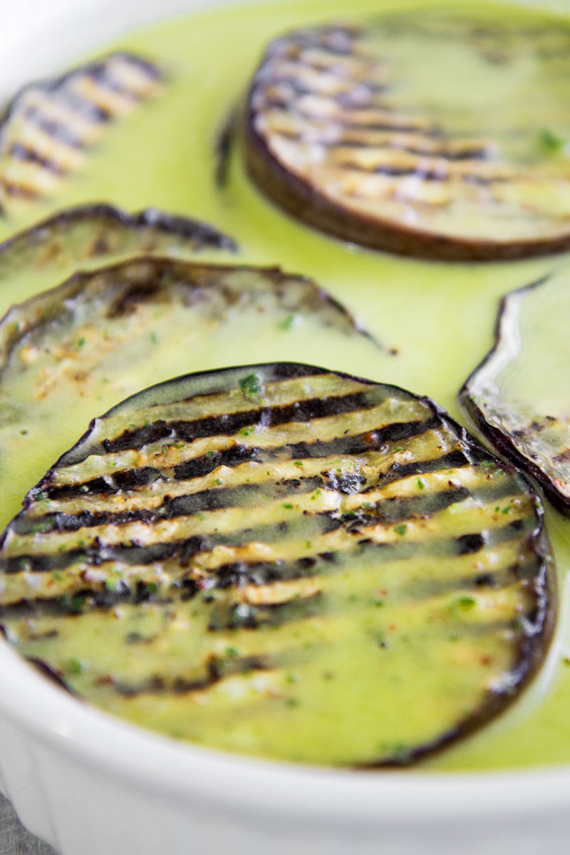 GRILLED EGGPLANTS MARINATED WITH SALMORIGLIO (lemon and oil sauce)
