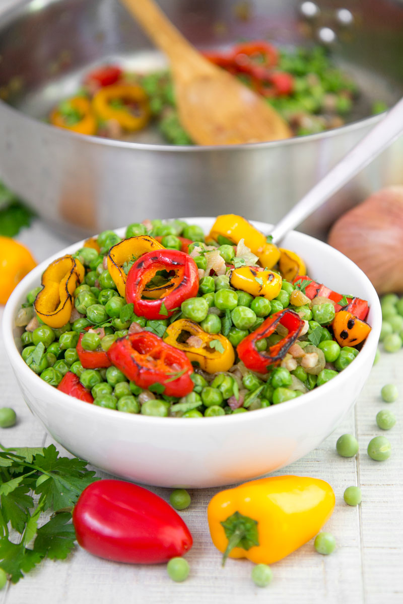 PEAS AND PANCETTA SIDE DISH - with mini bell peppers and parsley