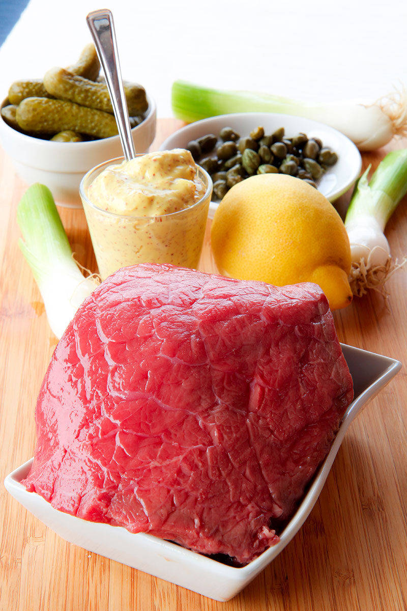 FRENCH STEAK TARTARE RECIPE AND HISTORY - with mustard and pickled cucumber