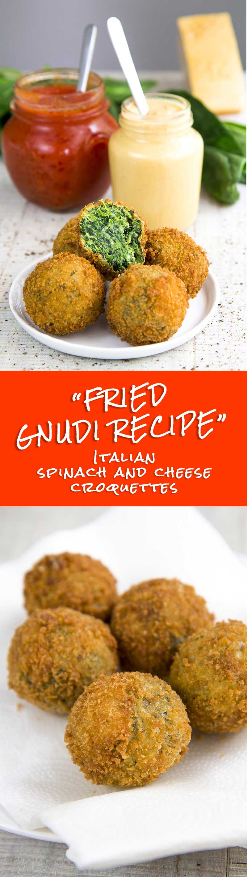 FRIED GNUDI - Italian spinach and cheese croquettes