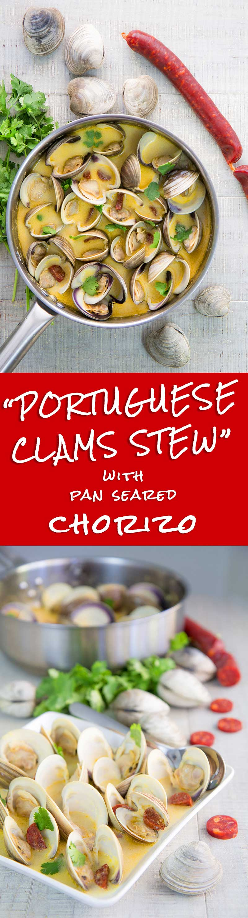 PORTUGUESE CLAMS STEW RECIPE with chorizo and white wine sauce