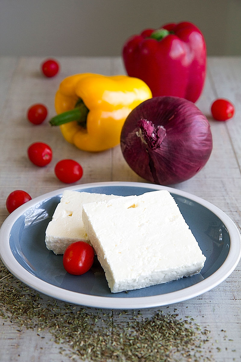 SAGANAKI CHEESE with Feta and seared bell peppers