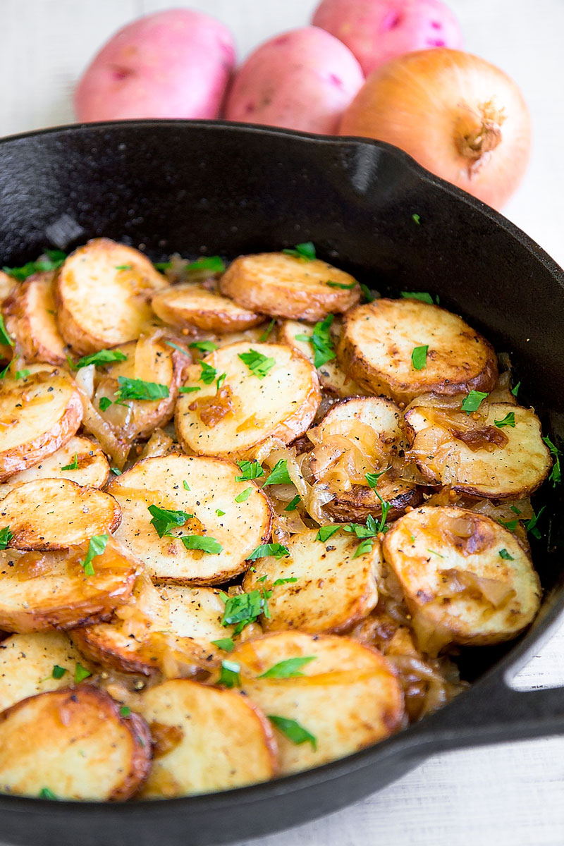 LYONNAISE POTATOES: French roasted potatoes with caramelized onion