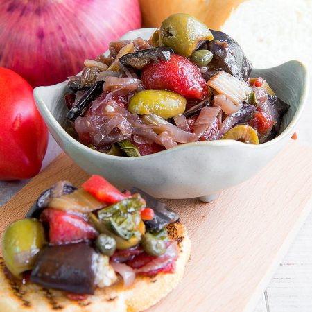 CAPONATA MESSINESE - Sicilian appetizer with chopped tomatoes and eggplants