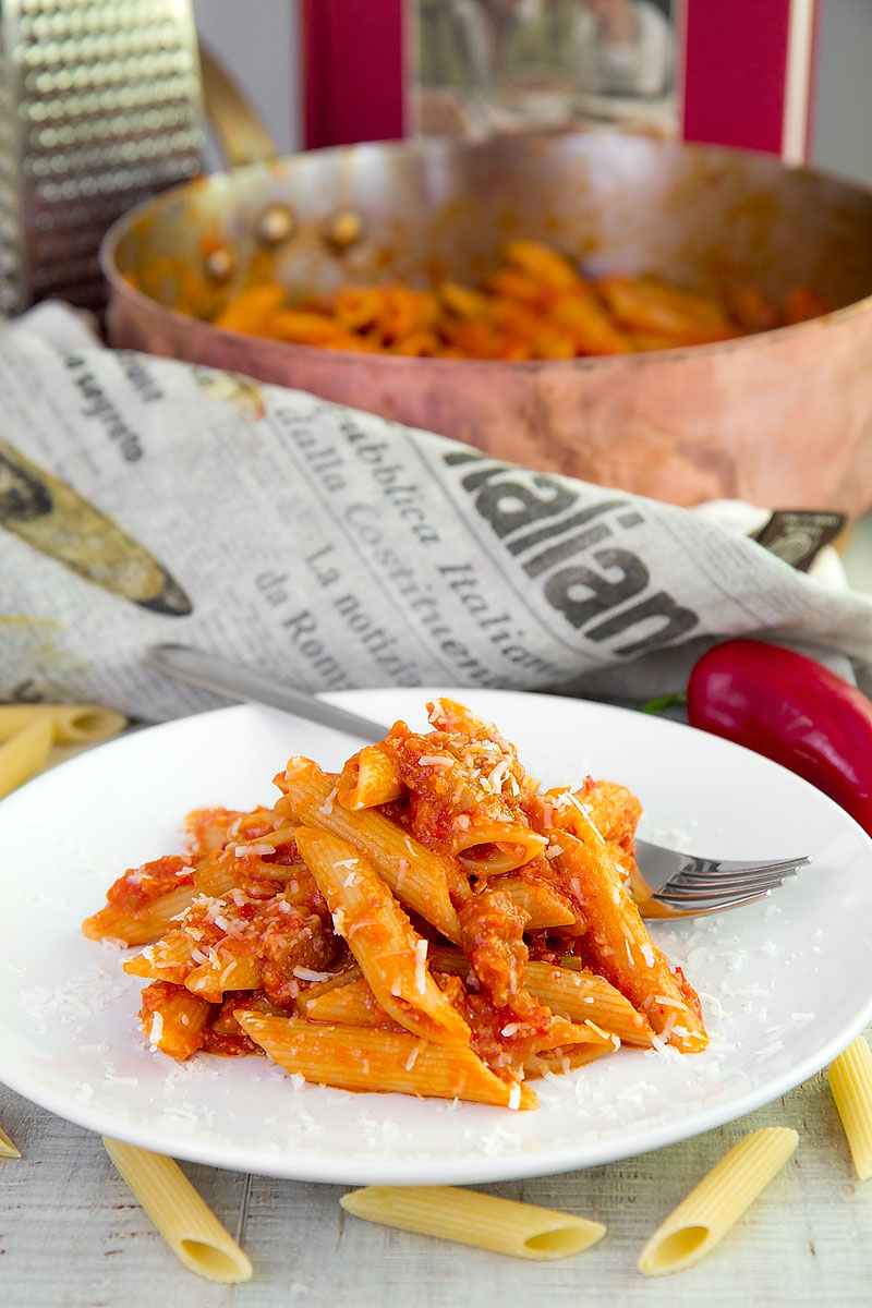 ADA BONI ARRABBIATA PASTA - a signature chef variation with ham and cheese
