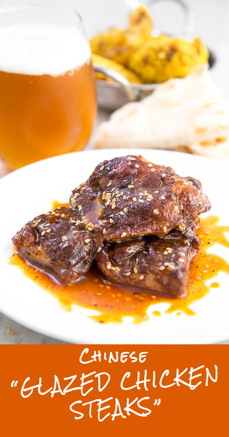 CHINESE GALZED CHICKEN STEAKS with honey, soy sauce and sesame seeds