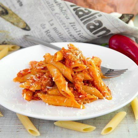 ADA BONI ARRABBIATA PASTA - a signature chef variation with ham and cheese