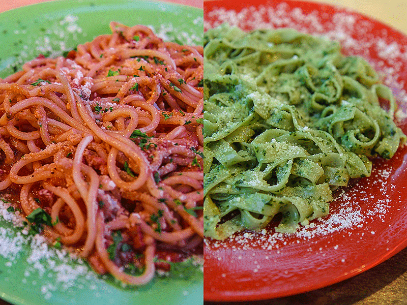 Amatriciana and Pesto Genovese Pasta per Caso Caye Caulker Belize