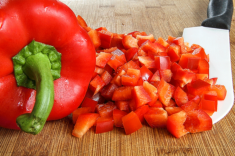 red bell pepper diced