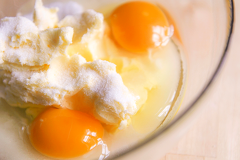 butter cream eggs caster cugar