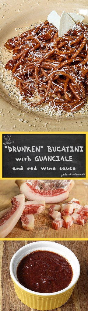 DRUNKEN BUCATINI with GUANCIALE and red wine sauce