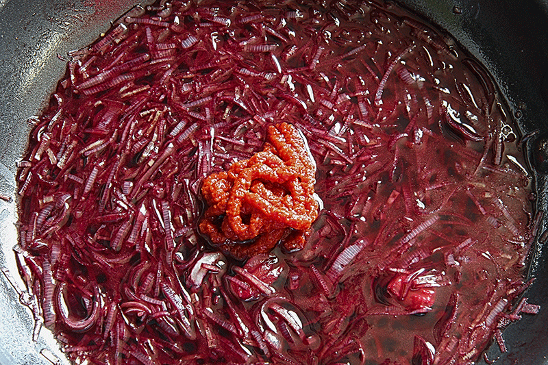 lekks sauteed making red wine sauce