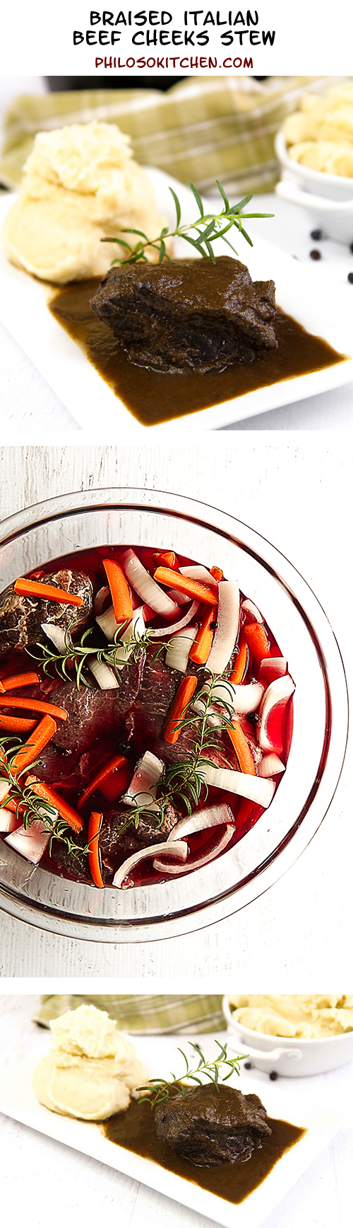 Braised Italian beef cheeks stew - try on is extremely tender and tasty!