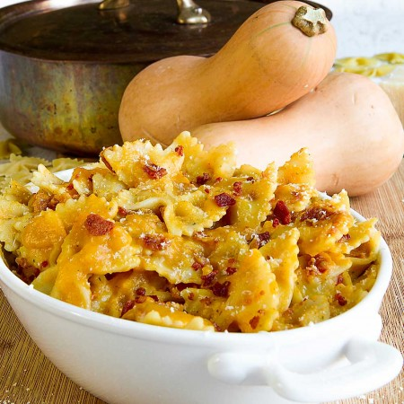 FARFALLE PASTA with pumpkin sauce and bacon flakes
