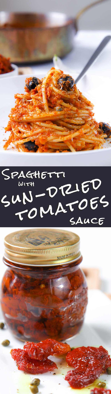 Spaghetti with sun dried tomatoes sauce pesto