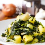 STIR FRIED DANDERLION AND POTATOES with Pecorino Romano cheese