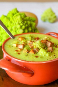 COCONUT CREAM SOUP with romanesco and roasted tofu