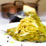 ARTICHOKES SPAGHETTI with garlic and Pecorino cheese