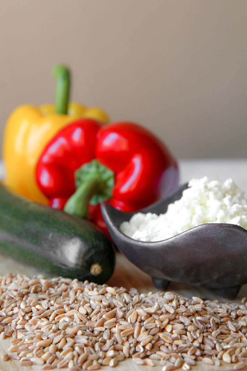 FARRO SALAD with roasted vegetables and feta