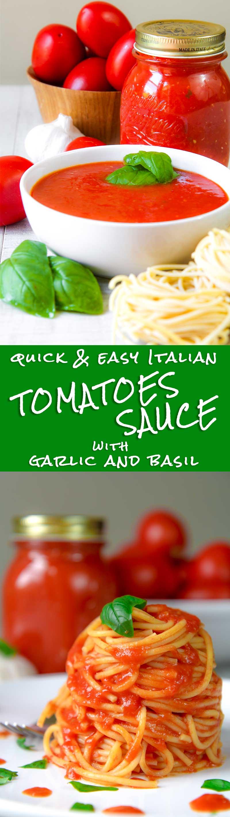 EASY TOMATOES SAUCE ITALIAN WAY with garlic and fresh basil