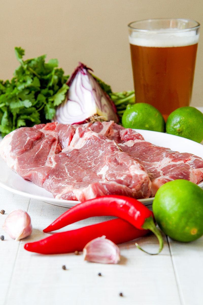 BBQ PORK FAJITAS marinated with beer and lime juice