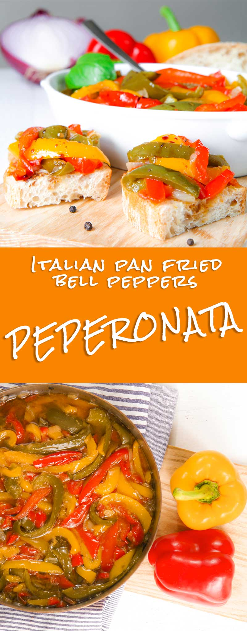 Italian peperonata recipe is very popular and prepared with some little differences in almost all the Italian regions. Bell peppers are slowly pan fried along with onion and diced tomatoes. Peperonata is delicious served over toasted bread slices ore aside grilled meats. It's flavor recalls me the Italian summer, where it is usual prepare this tasty dish in advance and bring it at grill parties in the countryside!