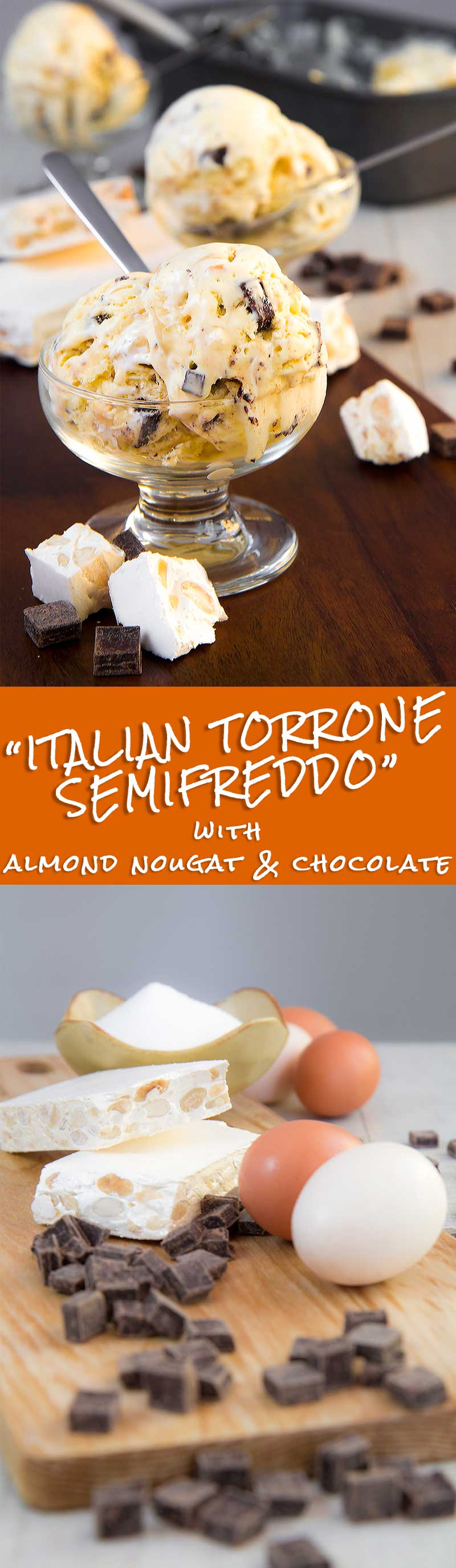 ITALIAN TORRONE SEMIFREDDO with chocolate chunks