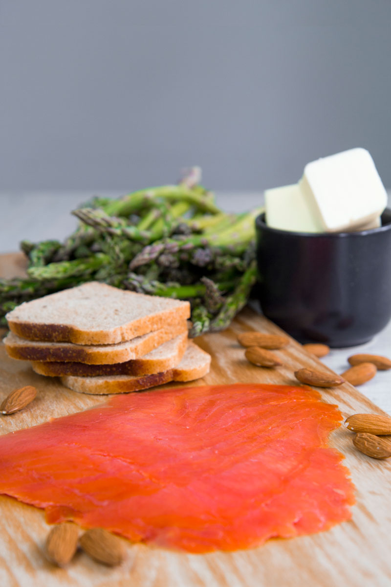 SMOKED SALMON TARTINE with asparagus butter and crumbled almonds