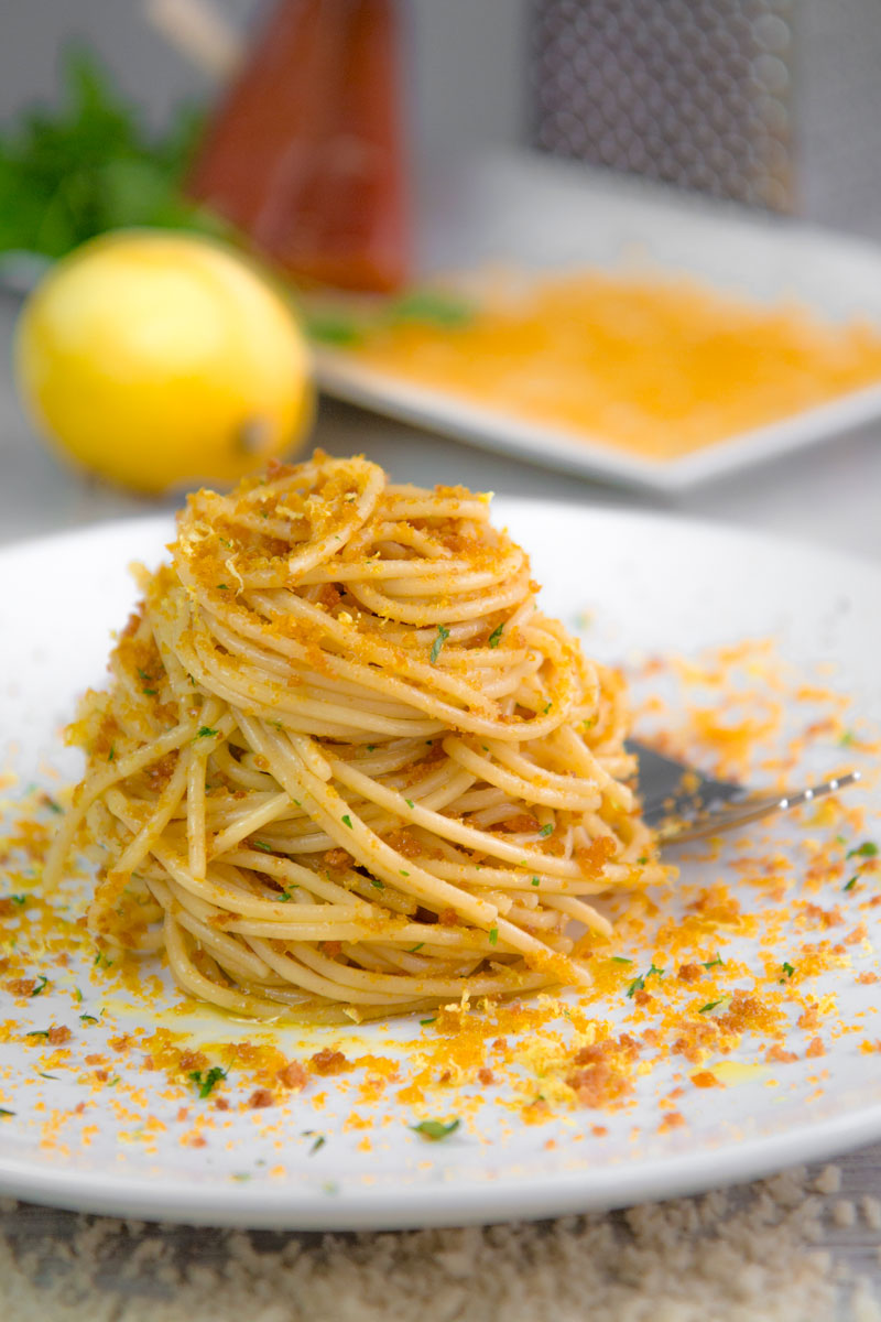 BOTTARGA SPAGHETTI with lemon zests and bread crumbles
