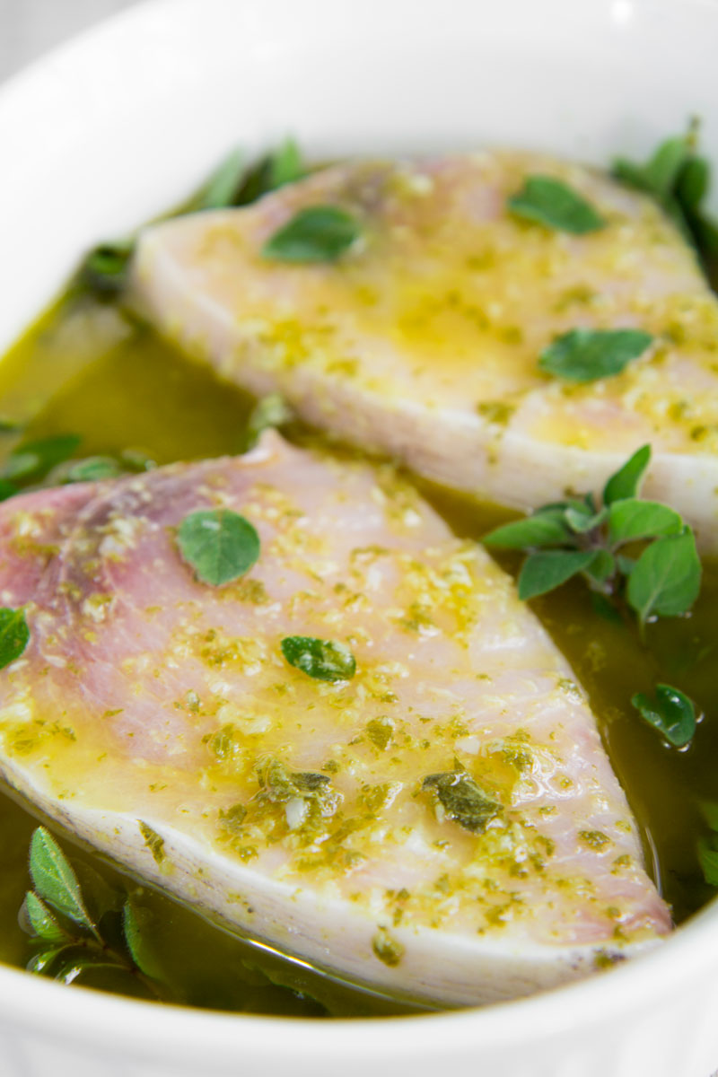 pan seared swordfish with salmoriglio sauce